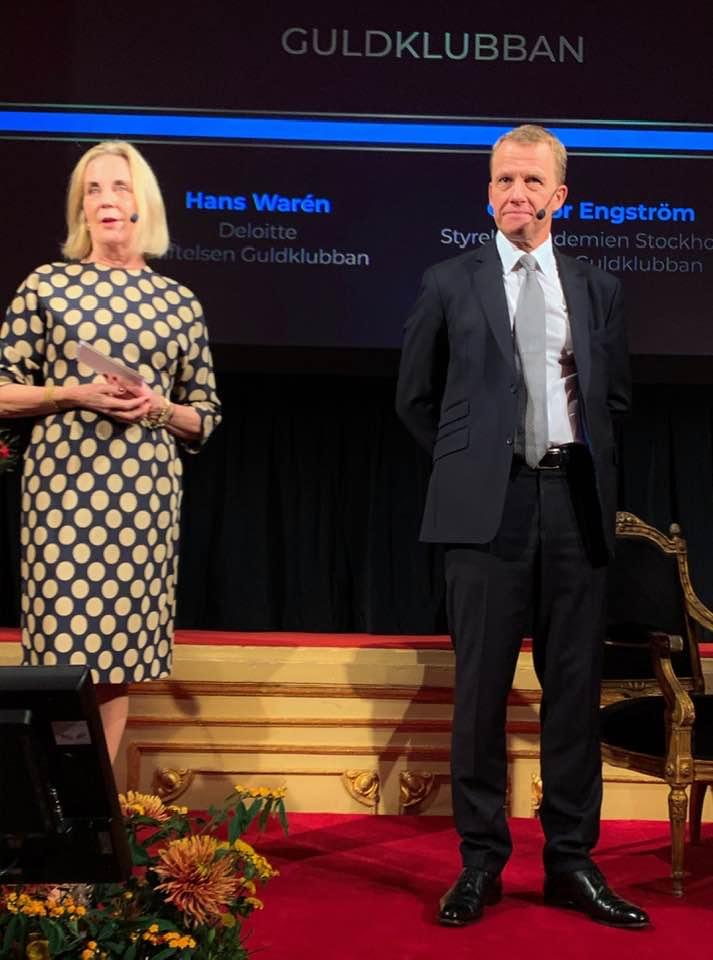 Gunvor Engström speaking on stage